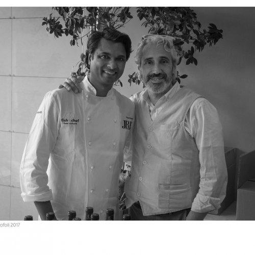 Vinod Sookar e Leandro Luppi, patron della Vecchia Malcesine e ideatore di Fish & Chef